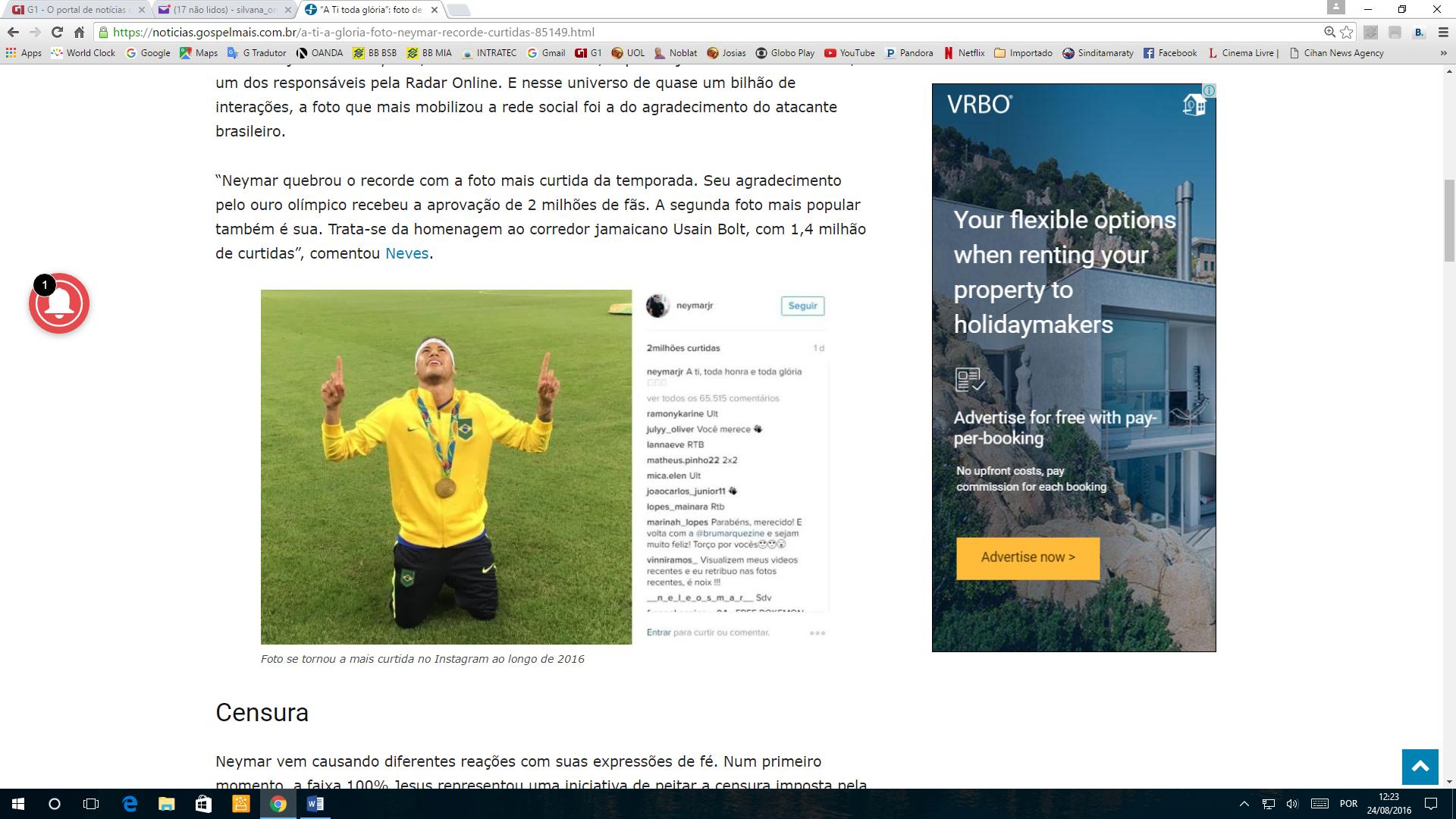 """Neymar agradece a Deus pela conquista da medalha Olímpica: """"A Ti toda glória"""""""
